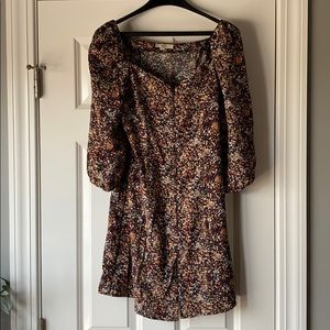 ENTRO button up dress with puffy sleeves
